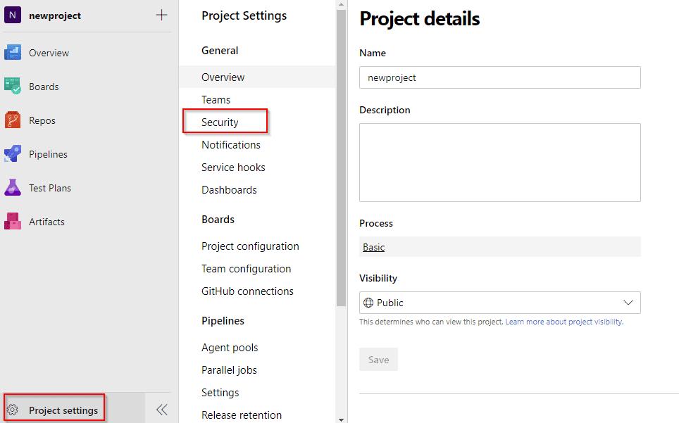 Azure-Project setting