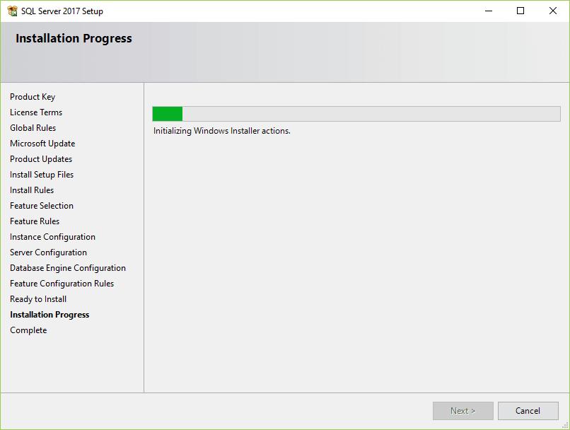 installation progress-sql