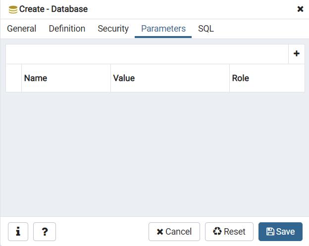Database-Parameter